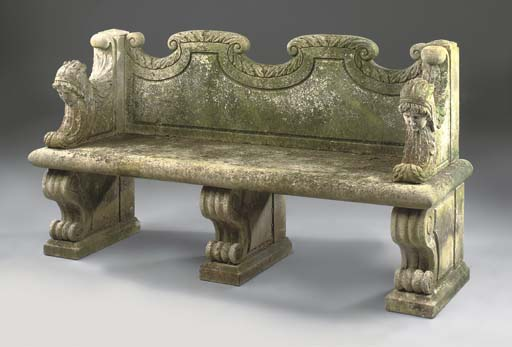 A carved limestone seat