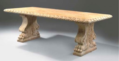 A rosso verona marble table