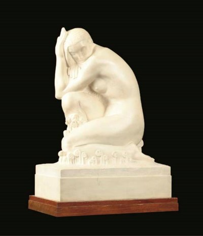 A WHITE MARBLE STATUETTE, THE
