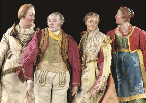 FOUR NEAPOLITAN CARVED AND POL