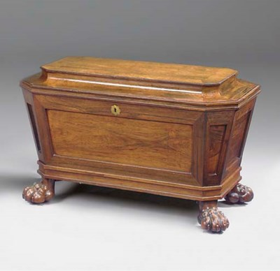 A REGENCY ROSEWOOD CELLARETTE