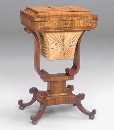 A GEORGE IV KINGWOOD WORK TABL