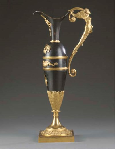 An ormolu and bronze  ewer