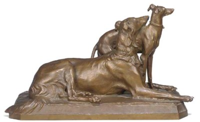 A French bronze group of a Bor