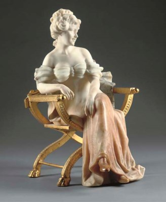 An Italian carved alabaster fi