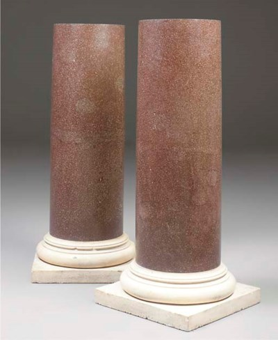 A pair of faux porphyry scagli