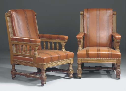 A PAIR OF OAK AND LEATHER UPHO