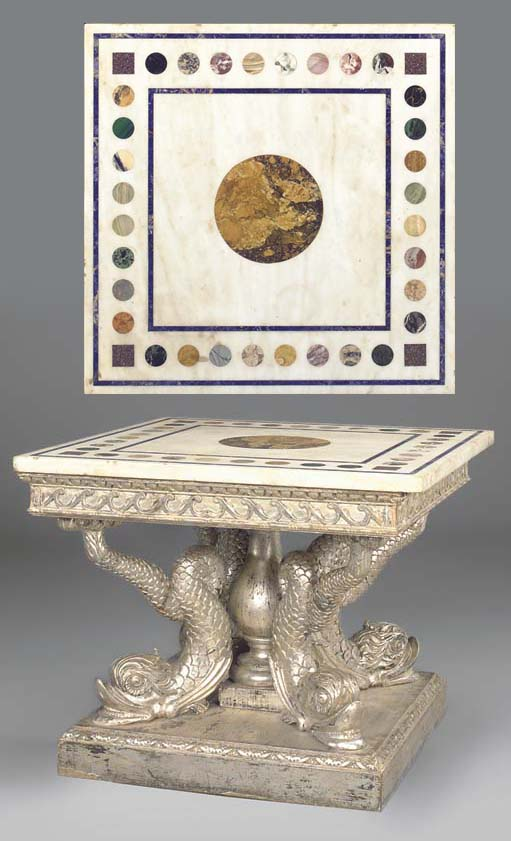 A SPECIMEN MARBLE TOPPED AND S