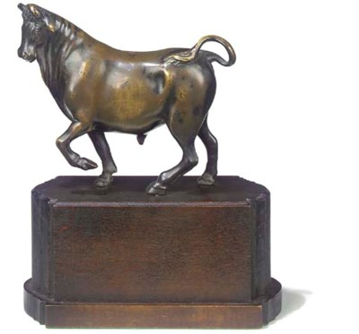 A BRONZE MODEL OF A PACING BUL