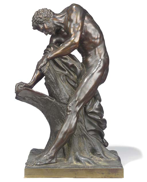 A French bronze figure of Milo