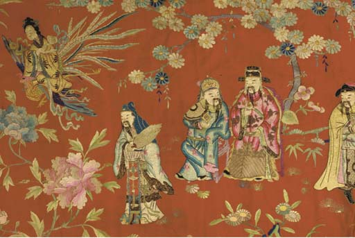 A CHINESE RED SILK AND EMBROID