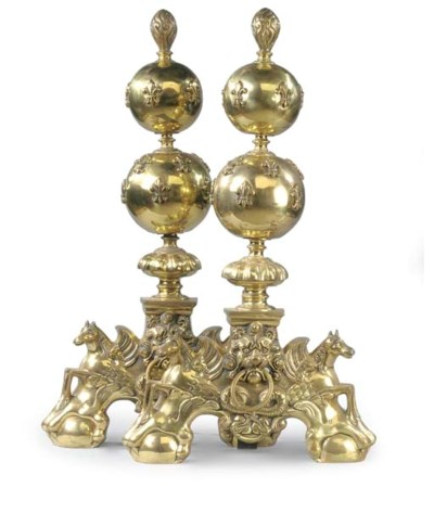 A PAIR OF LACQUERED BRASS ANDI