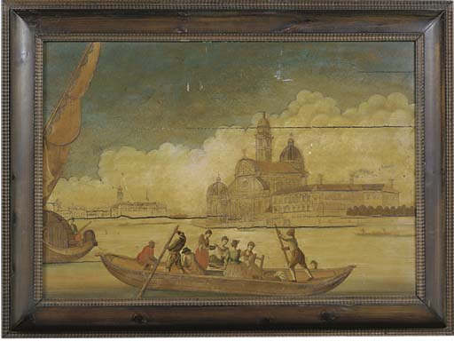 A VENETIAN PAINTED AND MARQUET