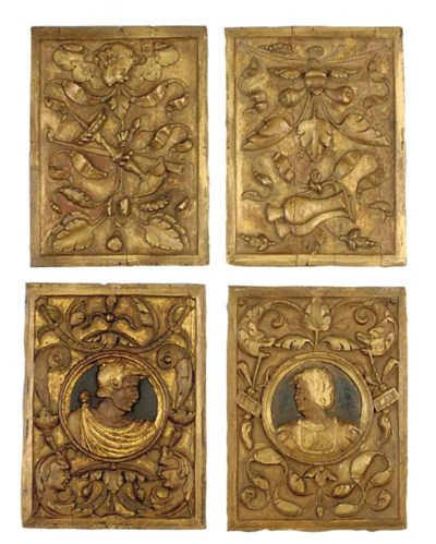 A SET OF FOUR CARVED OAK ROMAY