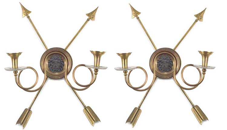 TWO GILT-METAL AND GLASS TWIN-