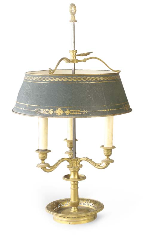 A gilt bronze bouillotte lamp
