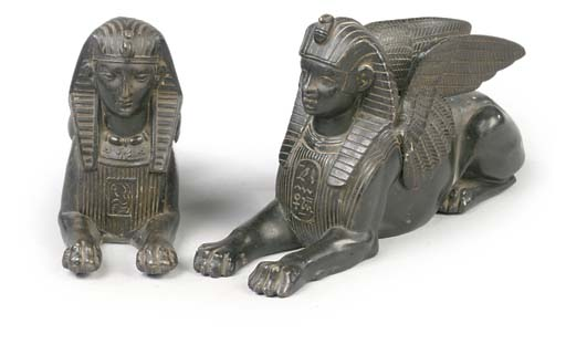 TWO FRENCH SPELTER SPHINXES