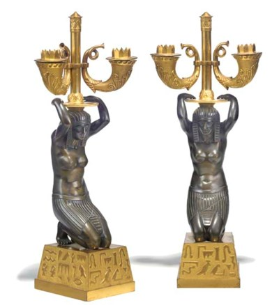 A PAIR OF EMPIRE BRONZE AND PA