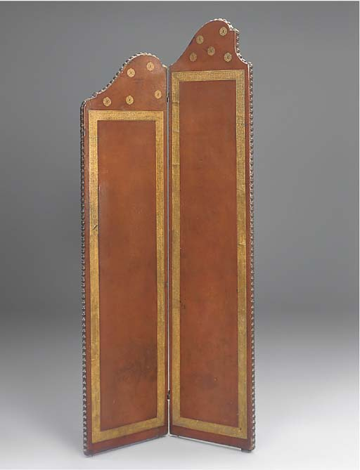 A French leather two fold scre