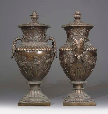 A PAIR OF LARGE BRONZE URNS