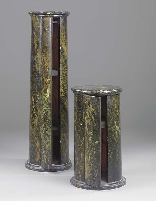 TWO SIMULATED MARBLE PEDESTAL