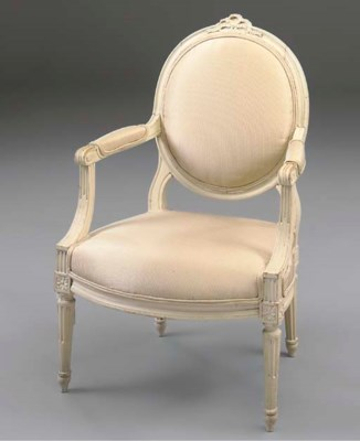 A WHITE PAINTED FAUTEUIL
