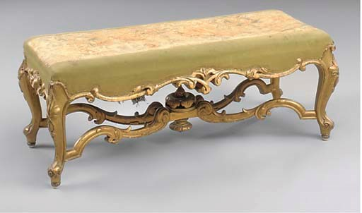 A VICTORIAN GILTWOOD LONG STOO