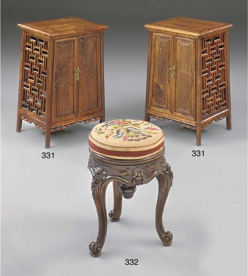 A PAIR OF CHINESE HARDWOOD CAB