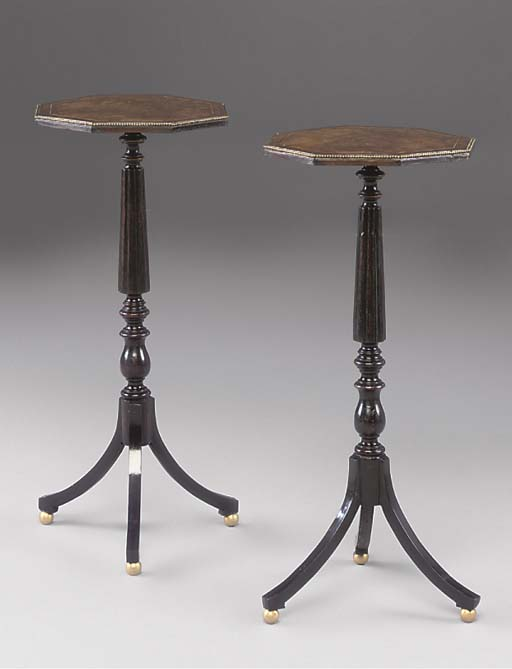 A PAIR OF WALNUT AND EBONISED