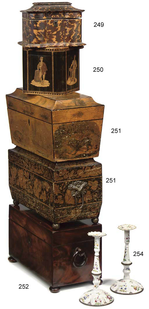 A REGENCY PEN-WORK TEA-CADDY