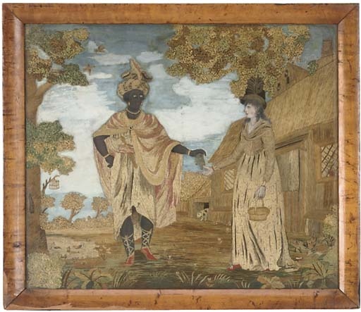 A REGENCY SILKWORK AND PAINTED