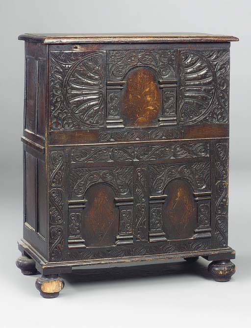 A CARVED OAK AND MARQUETRY PAN