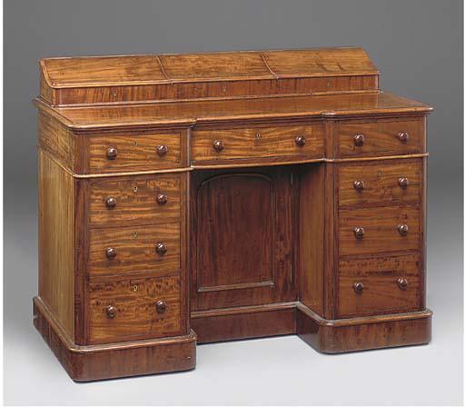 A Victorian mahogany kneehole