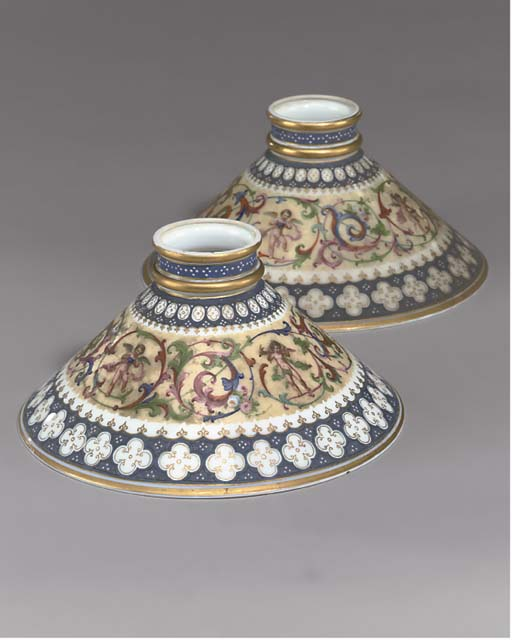 A PAIR OF GLASS LAMP SHADES