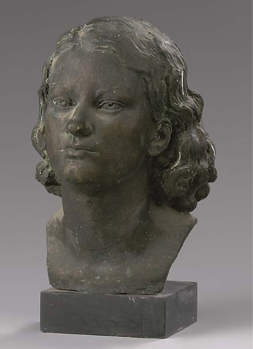 AN ENGLISH BRONZE BUST OF A LA