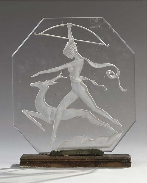 AN ART DECO MOULDED GLASS RELI