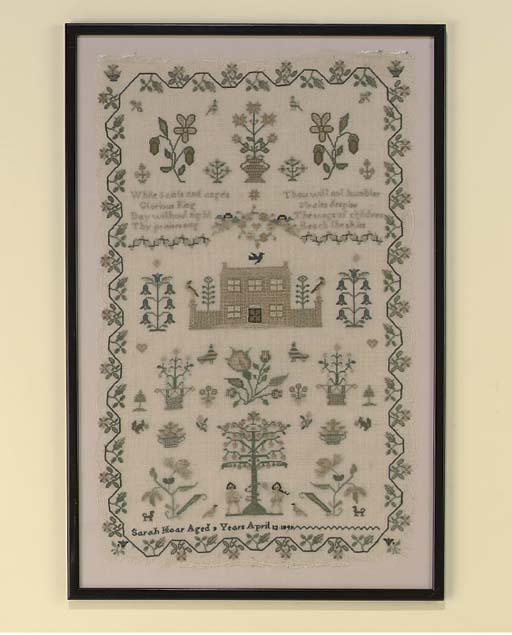 A SILK EMBROIDERED NEEDLEWORK SAMPLER