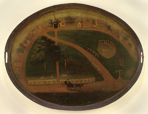 AN UNUSUAL PAINTED TIN TRAY OF