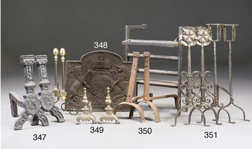 TWO PAIRS OF WROUGHT-IRON ANDIRONS AND TWO FIRE-BASKETS