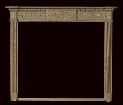 A GEORGE III PINE AND GESSO CHIMNEYPIECE