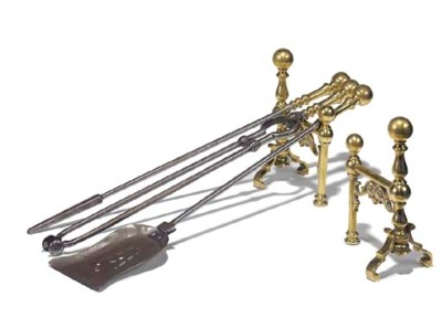 A SET OF THREE STEEL AND BRASS