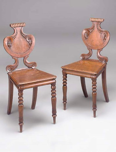 A PAIR OF WILLIAM IV OAK HALL