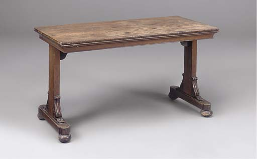 A Regency rosewood and mahogany library table
