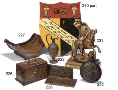 A GILT-WOOD GROUP OF ST GEORGE
