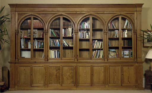 A PINE LIBRARY BOOKCASE