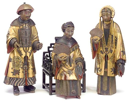 Three Chinese lacquered and pa