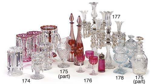 A PAIR OF RUBY-GLASS DECANTERS