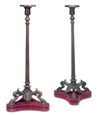 A PAIR OF ITALIAN BRONZE AND B