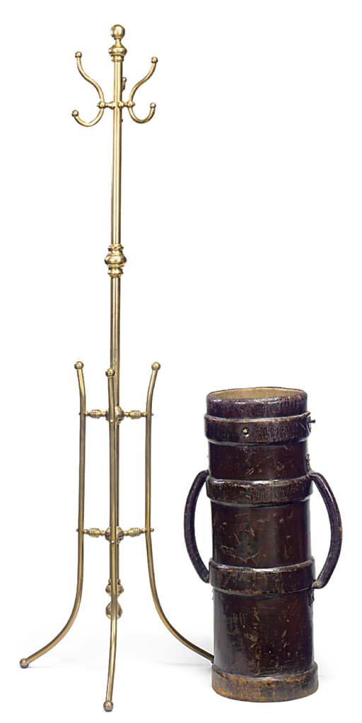 A BRASS HAT AND COAT STAND