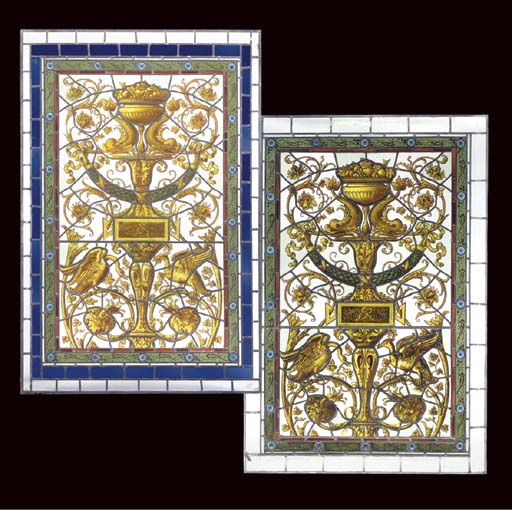 TWO LATE VICTORIAN STAINED GLA